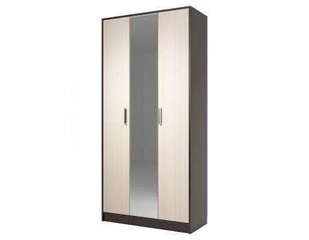 Шкаф 3-х дверный с зеркалом Диана 4, цвет: Венге / Дуб молочный