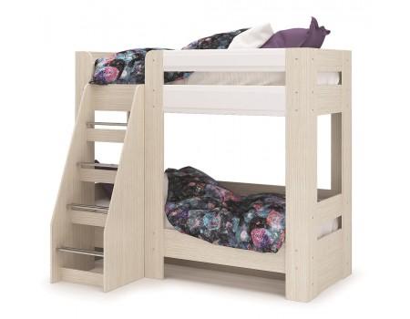 Кровать двухъярусная Симба, цвет: Дуб Белфорт / Белый глянец