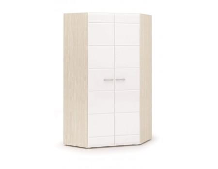 Шкаф угловой двухстворчатый Симба, цвет: Дуб Белфорт / Белый глянец