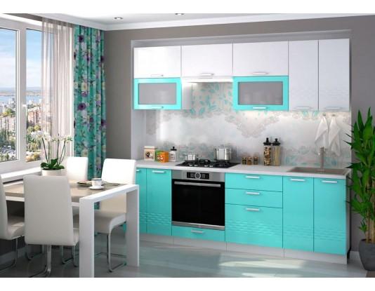 Кухня Глория - композиция 3, цвет: Бирюза металлик / Белый металлик