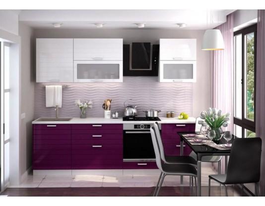 Кухня Линда - композиция 3, цвет: Баклажан глянец / Белый металлик