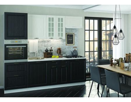 Кухня Мария - композиция 10, цвет: Чёрный / Дуб белый