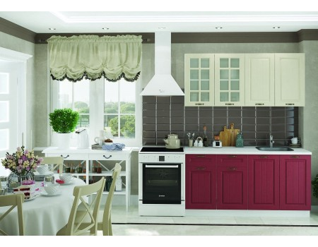 Кухня Мария - композиция 2, цвет: Бордо / Крем