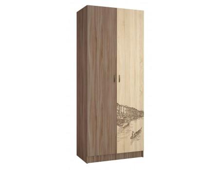 Шкаф 2-х дверный Орион, цвет: Ясень шимо, Дуб сонома