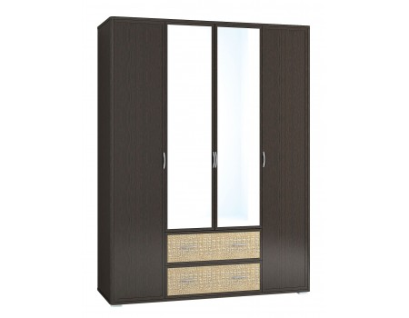 Шкаф с зеркалом Джульетта Дсш-8зз, цвет: Венге цаво, Кайман светлый