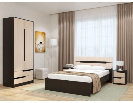 Спальня Гавана - композиция 2, цвет: Венге цаво, Дуб молочный