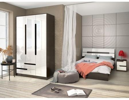 Спальня Гавана - композиция 4, цвет: Венге цаво, Акрил белый